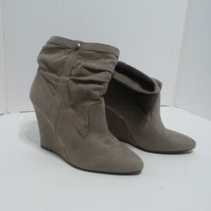 BCBG eneration tan wedge ankle booties size 7